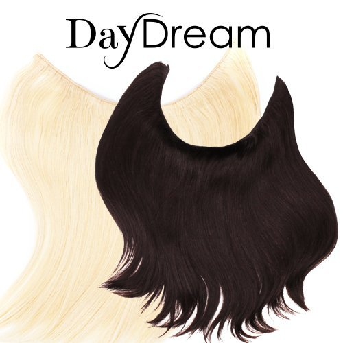 Halo style Hair Extensions - DayDream Hair by Hidden Crown on a wire - 100% Human Remy Couture Hair - No Clips, No Glue, No Damage! 100 grams (14-16 inches, q - #60 Lightest Clear Platinum Blonde)