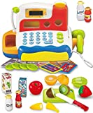 FUNERICA Durable Cash Register Toy for Kids | with Electronic Sounds, Microphone, Scanner, Calculator, Pretend Play Food Toys, Cuttable Fruits, Cashier Toy, Play Money, & Grocery Toys