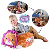 Stuffed Animal Storage Bag | Bean Bag Chair | XL Soft Animal Organizer | Becomes a Jumbo Plush Lion Pillow or Cushioned Chair | Holds up to 50 Animals | Support Disabled Children