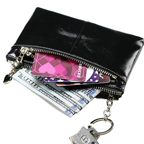 Itslife Triple Zipper Leather Mini Coin Purse Card