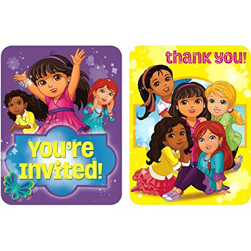[Amscan Dora and Friends Invitations/Thank You Notes Combo, Multicolor] (B Themed Costume Ideas)