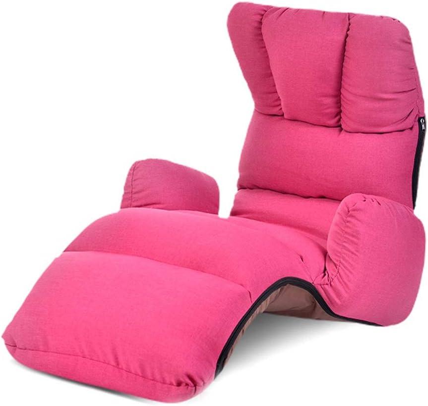 LMZ 畳の怠惰なソファ折りたたみ椅子シングルファブリックソファ寝室出窓窓厚くて快適な椅子取り外し可能および洗える175×56×18cm (Color : Rose red)