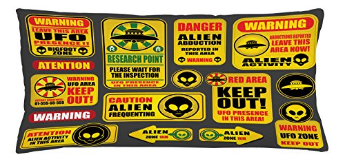 Lunarable Outer Space Throw Pillow Cushion Cover, Warning Ufo Signs with Alien Faces Heads Galactic Theme Paranormal Activity Design, Decorative Square Accent Pillow Case, 36 X 16 Inches, Yellow by Lunarable