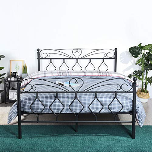 EGGREE Full Size Metal Platform Bed Frame with Wooden Slat Support, Modern Mattress Foundation/Box Spring Replacement with Victorian Style Headboard and Footboard, Smart Bed Base Noise Fre,Matte Black