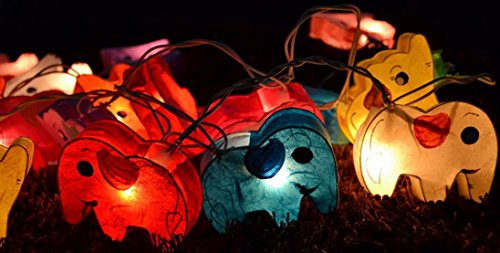 1 Set Handmade Lighting String 20 Elephants Lights Hanging Lamp Mixed Colors Home Decoration, Patio, Living Room, Kid Toys, Yard & Garden Indoor Outdoor, Birthday, Christmas, Wedding, New Year, Anniversary, Ceremony, Valentine Party