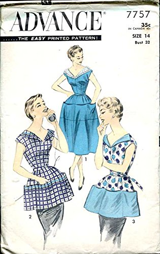 Advance 7757 Vintage Misses' Coverall or Cobbler Apron Sewing Pattern, Check Listings for Size