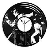 VinylShopUS – Elvis Presley Vinyl Wall Clock Music Bands and Musicians Themed Unique Gift For Sale