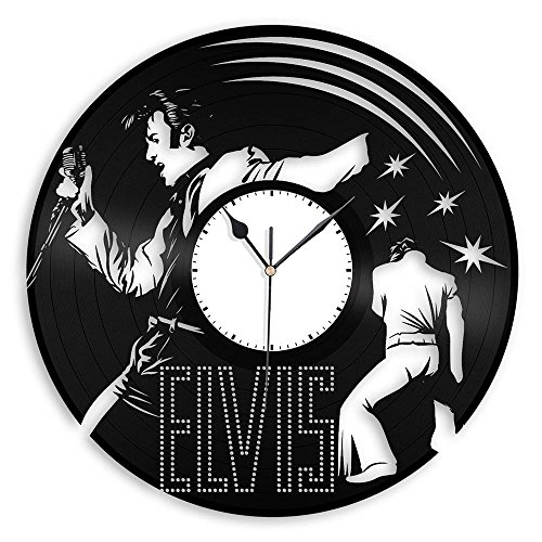 Vinyl Wall Clock Elvis Presley Handmade Unique Gift Idea Collectible Art for Birthday Father's Mother's Day Celebration for Boyfriend Girlfriend