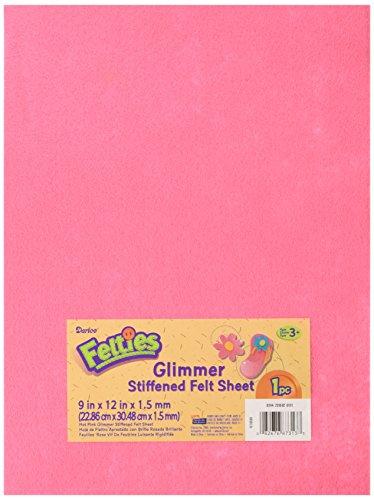 (Darice 9 by 12 inch, Glimmer Felt Sheet, Hot Pink, 1 (9