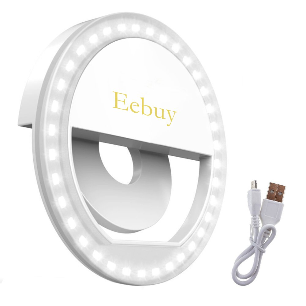 Eebuy Selfie Ring Light for Phone, Clip-on Selfie Light Bulb Rechargeable 36 LED for Smart Phone Photography Camera or Makeup -White (A) by Eebuy