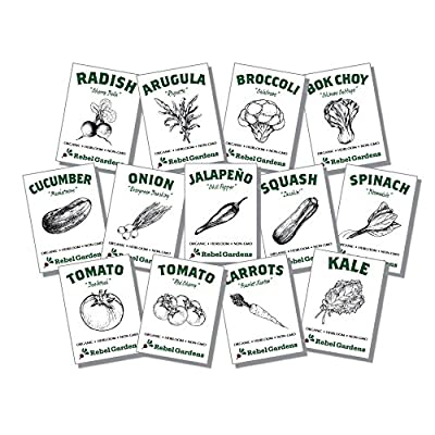 Organic Vegetable Seeds - 13 Varieties of Non GMO, Non Hybrid, Heirloom, Open Pollinated Garden Seed - Tomatoes, Kale, Carrots, Broccoli, Arugula, and More