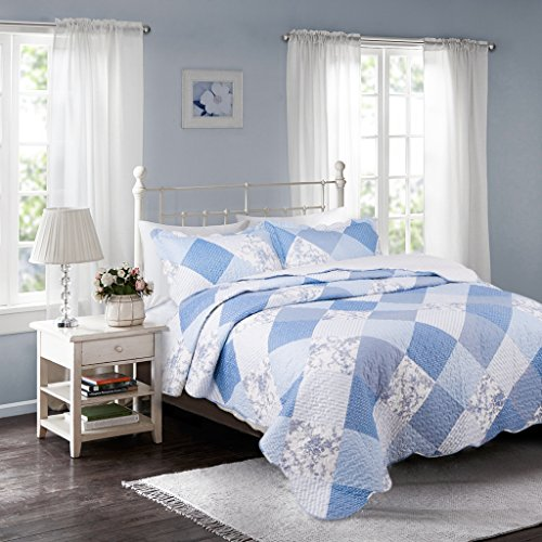"""Bedsure Printed Quilt Coverlet Set Twin(68""""x86"""") Blue Floral Patchwork Pattern Lightweight Hypoallergenic Microfiber"""