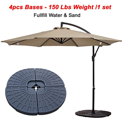 Patio 4 Piece Hard Plastic Puzzle Fan Style Self-filled Cantilever Offset Umbrella Base Stand