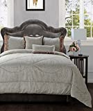 Jennifer Taylor Home 5 Piece Queen Size Plush and Luxurious Comforter Set, Teal Tan