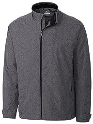 Cutter & Buck Men\'s Windtec Long Sleeve Venture Full Zip Jacket, Black, Large