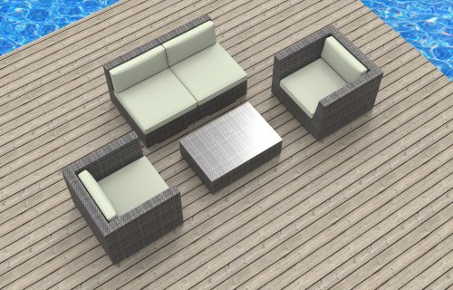 UrbanFurnishing.net 5c-Belize-Biege 5 Piece Modern Patio Furniture Sofa Sectional Couch Set