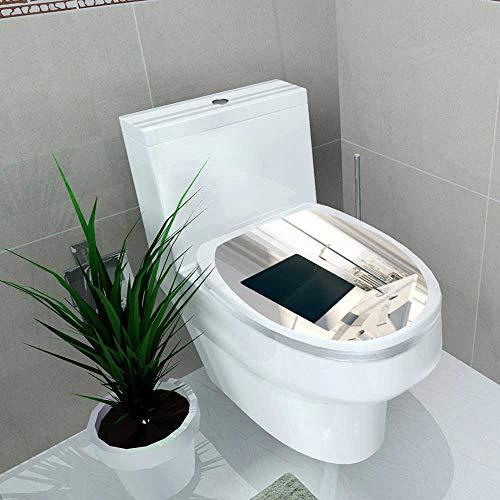 Toilet Seat Sticker Sideview Desktop Blank Computer Screen in Sunlit Office Windows Waterproof Decorative Toilet Cover Stickers W14 x ()