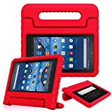kindle fire protection case - Fintie Shock Proof Case for All-New Amazon Fire 7 Tablet (7th Gen, 2017) - Kiddie Series Light Weight Convertible Handle Stand Kids Friendly Cover, compatible with Fire 7 (5th Gen, 2015), Red