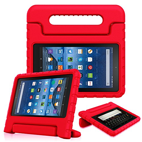 ase for All-New Amazon Fire 7 Tablet (7th Gen, 2017) - Kiddie Series Light Weight Convertible Handle Stand Kids Friendly Cover, Compatible with Fire 7 (5th Gen, 2015), Red ()