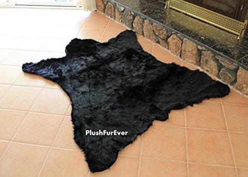 Faux Fur Black Bearskin Pelt Shaggy Shag Accent Lodge Cabin Area - Rug Bearskin
