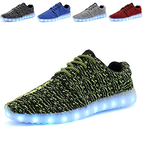 ANLUKE Unisex Adult LED Light Up Shoes 11 Lights Flashing USB Recharging for Men and Women Green t8Fgl