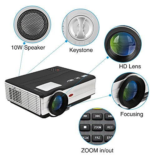 HD Movie Projector 1080p Outdoor Indoor 3500 Lumens, 200'' Video Projector Full HD 1280x800, Home Theater Projector Dual HDMI USB for Laptop iPhone Smartphone Mac Game with Speaker 50,000hrs Led Lamp by CAIWEI (Image #2)'