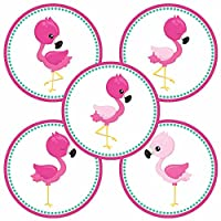 Pink Flamingo Sticker Labels for Party Favors - Girl Birthday Baby Shower Envelope Seals - Set of 50