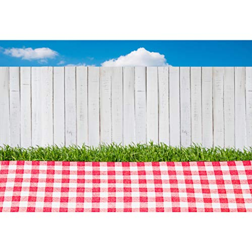CSFOTO 8x6ft Outdoor Picnic Scene Backdrop Picnic Backdrop Natural Scenery Photography Backdrop Grassland Picnic Blanket Wood Fence Family Event Decor Banner Kids Photo Studio Props