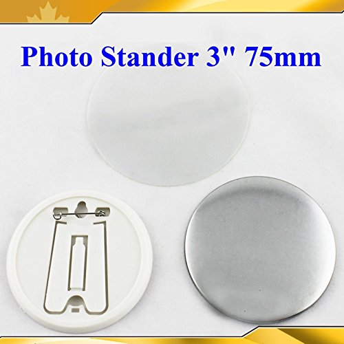 "Asc365 Pin Photo Badge Button 3"" 75mm 100sets Stander Supplies for Maker Machine"