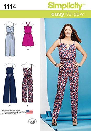 Simplicity Patterns 1114 Misses' Easy Dress and Jumpsuits, A (XXS-XS-S-M-L-XL-XXL) ()