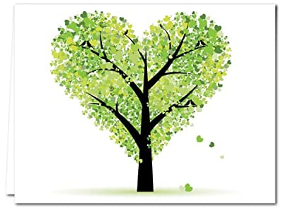 Tree of Love - 36 Note Cards - Blank Cards - Green Envelopes Included