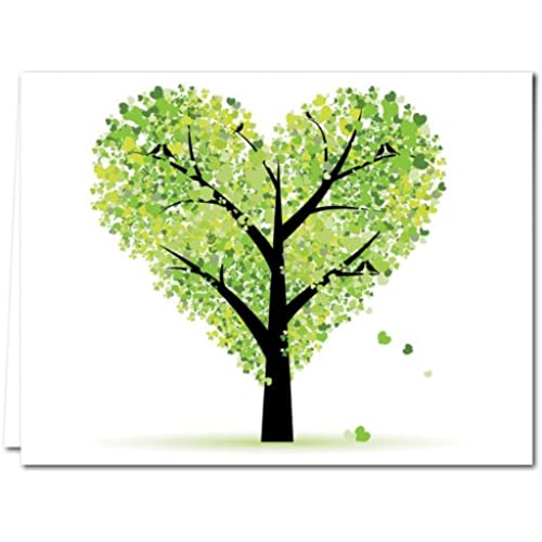 Tree of Love - 36 Note Cards - Blank Cards - Green Envelopes Included Sales