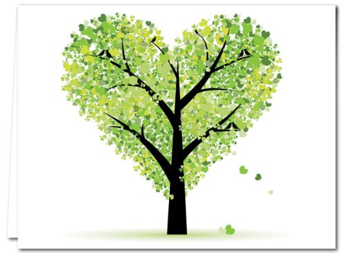 Love Envelope - Tree of Love - 36 Note Cards - Blank Cards - Green Envelopes Included