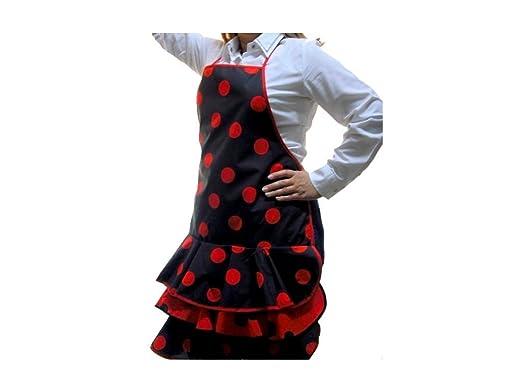 Delantal flamenca negro con lunares rojos - Talla única ...