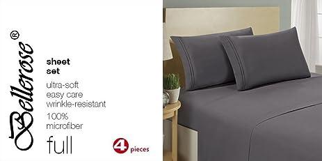 Quality Full Sheets Grey Set Brushed Microfiber Bed Linens Durable Design  Wrinkle Free 4pc Bedroom Set