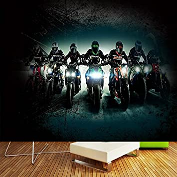 Leegt Bar Creative Motorcycle Large Mural Wallpaper Sala De Estar ...