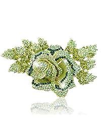 Ever Faith Austrian Crystal 5.9 Inch Rose Flower Brooch Gold-Tone Green A09857-1
