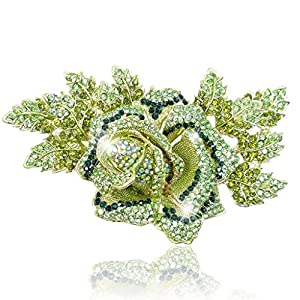 EVER FAITH Austrian Crystal 5.9 Inch Rose Flower Brooch Gold Tone Green