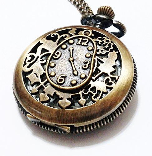 Alice in Wonderland Pocket Watch Necklace - Vintage Style Alice Backwards Clock Pendant - Steampunk Brass White Rabbit Charm Pocket (Pendant Quartz Clock)