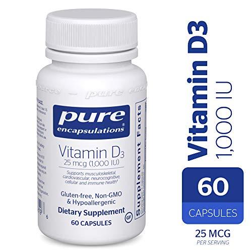 Pure Encapsulations - Vitamin D3 25 mcg (1,000 IU) - Hypoallergenic Support for Bone, Breast, Prostate, Cardiovascular, Colon and Immune Health* - 60 Capsules