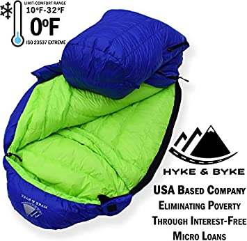 Hyke Byke Eolus 0 Degree F 800 Fill Power Hydrophobic Goose Down Sleeping Bag with LofTech Base – Ultra Lightweight 4 Season Men s and Women s Mummy Bag Designed for Backpacking