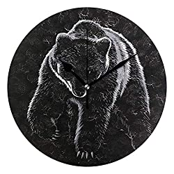 HCMusic Round Bear Grizzly Wall Clock- Non Ticking Digital Quiet Sweep Clock, Decorative for Office Living Room Bedroom, 10 Inch