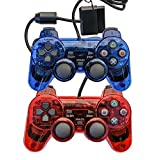 Saloke 2 Packs Wired Gaming Controllers for Ps2 Double Shock (Clear Red and Clear Blue)