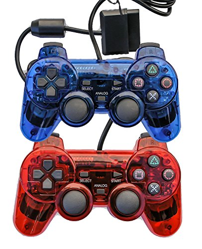 Saloke 2 Packs Wired Gaming Controllers for Ps2 Double Shock (Clear Red and Clear Blue) - Playstation 1 Ps2 Game