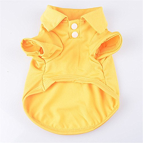 (Feroni Spring and summer pet clothes candy color dog POLO shirt trade Teddy dog​T shirt spot yellow)