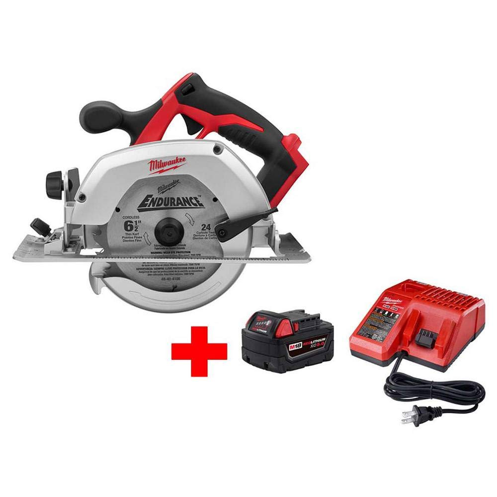 Milwaukee M18 18-Volt Lithium-Ion Cordless 6-1 2 in. Circular Saw W M18 Starter Kit 1 5.0Ah Battery Charger