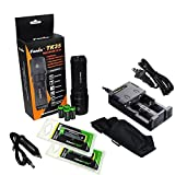 FENIX TK35 U2 860 Lumen Tactical LED Flashlight with 2 X EdisonBright EBR26 18650 Li-ion rechargeable batteries, 4 X EdisonBright CR123A Lithium batteries, EdisonBright 2 bay Smart Battery Charger, in-car Charger adapter, Holster & Lanyard bundle