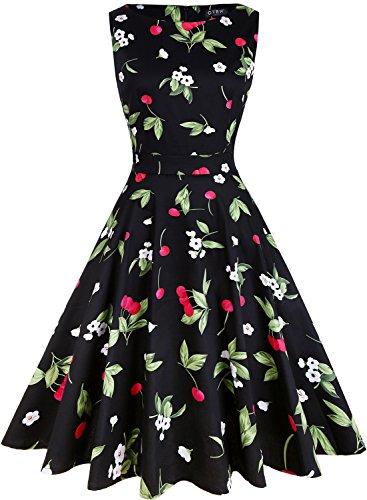 OTEN Women/'s Vintage Tea Dress Sleeveless Floral 1950s Cocktail Dress, Small, Black+Cherry (Vintage Cherry)
