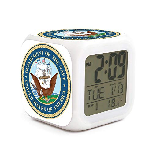 HZBBSB Department of The Navy Electronic Alarm Clock Gifts for Sweetheart Popular Office