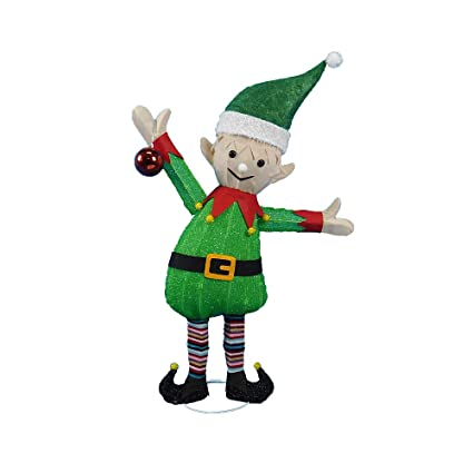 38 santas elf tinsel sculpture outdoor christmas yard lawn decoration seasonal display - Christmas Lawn Decorations Amazon